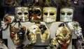 Masks a collection of in a prague shop Royalty Free Stock Image