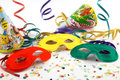 Masks with confetti, streamers Royalty Free Stock Images