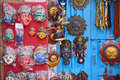 Masks pottery souvenirs hanging in front of the shop on swayambhunath stupa in kathmandu nepal Royalty Free Stock Image
