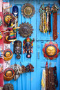 Masks pottery souvenirs hanging in front of the shop on swayambhunath stupa in kathmandu nepal Royalty Free Stock Photography