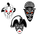 Masks, set of hockey, Venice and African Royalty Free Stock Photo