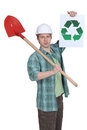 Mason holding spade and recycle poster Royalty Free Stock Photo