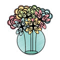 Mason jar with flowers isolated icon