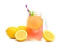 Mason jar glass of pink lemonade with lemons isolated on white Royalty Free Stock Photo