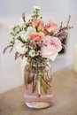Mason jar of roses Royalty Free Stock Photo
