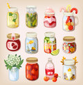 Mason jars with things variety of different items in them showing how to use it Royalty Free Stock Image