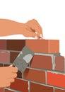 Mason a vector image of a bricklayer who makes the masonry brick Stock Images