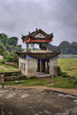 Masonry arbor pagoda in scenic farming area rural China, Guangxi Royalty Free Stock Photo