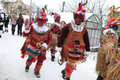 Masopust carnival ceremonial shrovetide procession czech repub vitanov republic january people attend the a traditional door to Stock Image