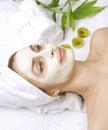 Masque de massage facial de station thermale Images stock