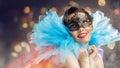 Masquerade mask cute girl in Stock Photos