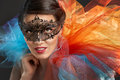 Masquerade mask cute girl in Royalty Free Stock Photography