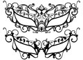 Masquerade masks ornate carnival outline black over white Royalty Free Stock Photos
