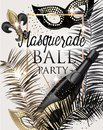 MASQUERADE PARTY INVITATION CARD WITH CARNIVAL DECO OBJECTS . GOLD, WHITE AND BLACK.