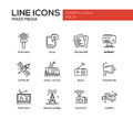 Mass Media line design icons set Royalty Free Stock Photo