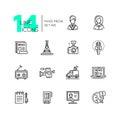 Mass media - modern single line icons set Royalty Free Stock Photo