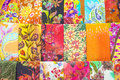 Mass produced colored textile in a traditional east market in malaysia colorful batik from Royalty Free Stock Photos