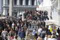 Mass tourism in venice italy lots of people near st mark s square Royalty Free Stock Image