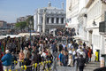 Mass tourism in venice italy lots of people near st mark s square Stock Photo