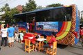 Mass transportation campaign children looking at bus miniature at in solo central java indonesia Stock Images