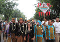 Mass wedding dozens of brides follow in the city of solo central java indonesia Royalty Free Stock Images