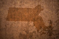 Massachusetts state map on a old vintage paper background Royalty Free Stock Photo