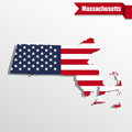 Massachusetts State map with US flag inside and ribbon Royalty Free Stock Photo