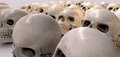 Massacre of skulls a haunting perspective view collection human signifying a sorts Stock Photo