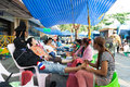 The massage camp bangkok thailand december was built for tired protesters to relax and come back to protest again on ratchadumnoen Royalty Free Stock Images