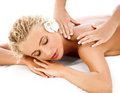 Massage close up of a beautiful woman getting spa treatment Royalty Free Stock Photography