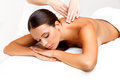 Massage close up of a beautiful woman getting spa treatment Royalty Free Stock Images