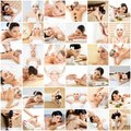 Massage collection. Health care, healing and medicine concept. Beautiful women in spa. Hot stones, massaging balls and