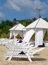 Massage huts on beach corn island nicaragua Stock Images