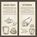 Massage, SPA and relax procedure. Set of vector cards template. Hand drawn elements.