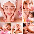 Massage spa set in macro young beautiful woman Royalty Free Stock Photo