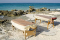 Massage Tables Next to Coastline in Mexico Royalty Free Stock Photography