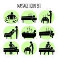 Massage vector black icons set