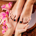 Massage of woman s foot in spa salon beauty treatment concept Stock Photo