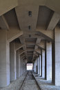 Massive construktion colonade arcade architecture of the ruhr museum in essen germany symmetric view Stock Image