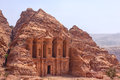 Massive facade of the largest monument in petra monastery ad deir Stock Photo