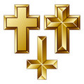 Massive golden christian crosses Stock Photography