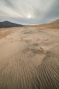 Massive Kelso Sand Dunes in Mojave National Preserve, California on a Cloudy Day Royalty Free Stock Photo