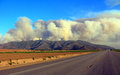 Massive plumes of brush fire smoke wild in point mugu state park mountains near camarillo ca Stock Image
