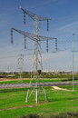 Massive pylon electric on the lawn near the highway israel Stock Image