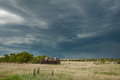 Massive storm in big sky country an ominous summer with hail heavy rain and high winds barrels across the eastern montana Stock Images
