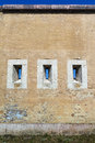 Massive wall with gun ports in fortification system palatine line in city komarno which covered fire from different directions Stock Images