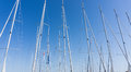 Mast against a blue sky, ship mast, marina in European city, the Royalty Free Stock Photo