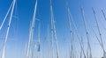 Mast against a blue sky, ship mast, marina in European city, the Royalty Free Stock Photo
