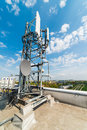 Mast with antennas communications on the roof of an office building Royalty Free Stock Photography