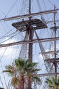 Mast and crow s nest foreground of of a ship with sky in the background Royalty Free Stock Photography